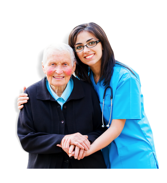 Caregiver and Elder Woman holding hands