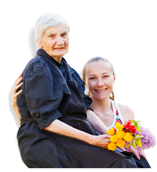 Elder Woman holding flowers beside the Girl